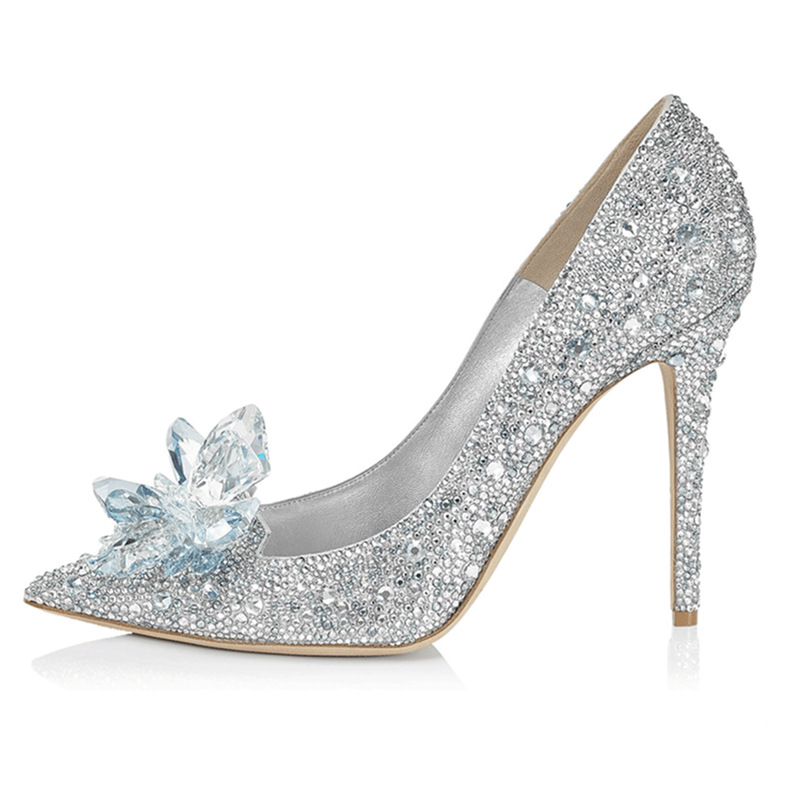 2018 New Wedding Shoes Women Rhinestone High Heels Cinderella Shoes Pumps Pointed toe Crystal Personalized Princess Lady Pumps
