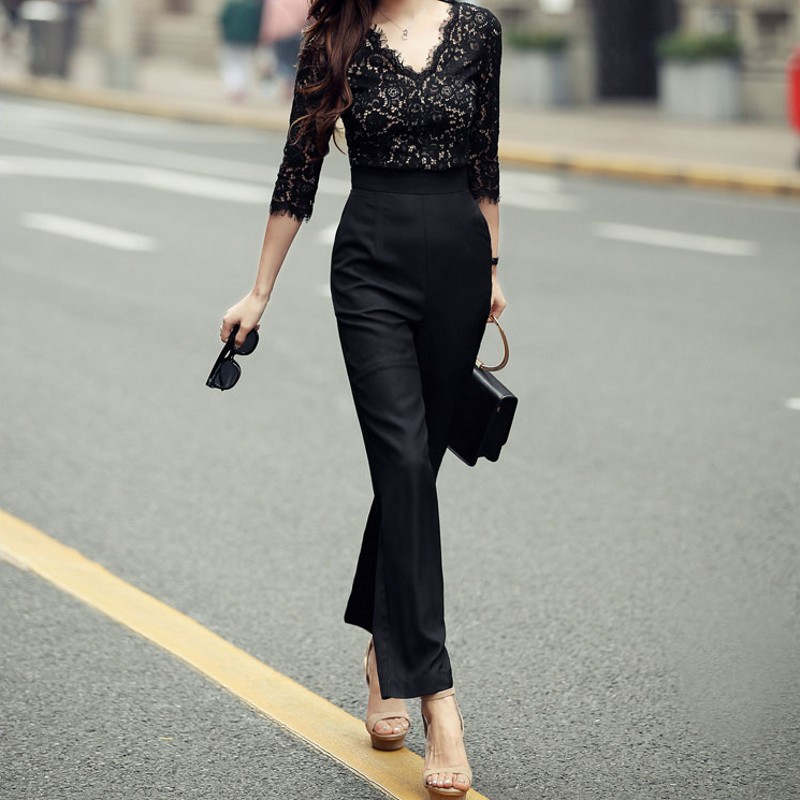 где купить New Arrival Jumpsuit Fashion Korean High Waist Ankle-Length Women Jumpsuit Sexy Lace V Neck Slim Fit Womens Rompers Jumpsuit по лучшей цене