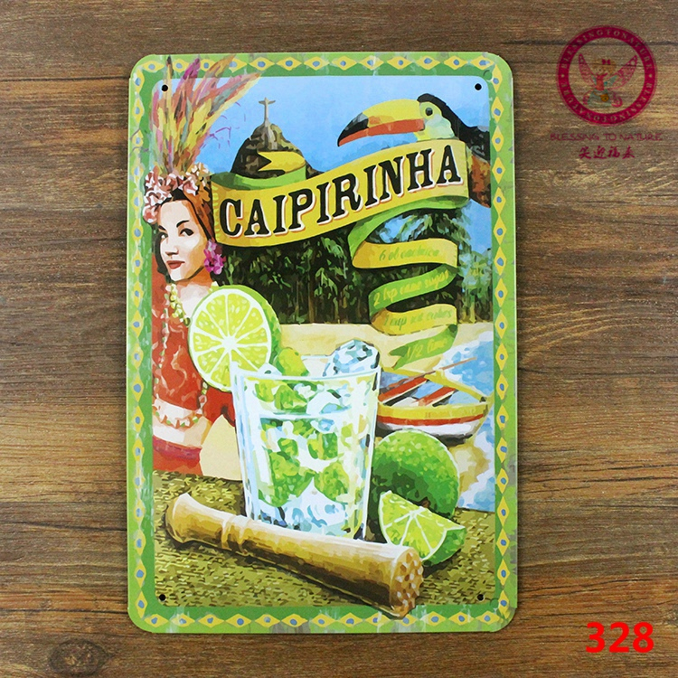 New arrival vintage metal tin signs caipirinha retro painting home decorative plate wall art craft 20x30cm