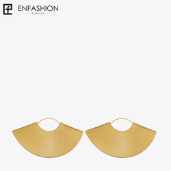 Enfashion Vintage Camber Fan Dangle Earrings Matte Gold color Earings Big Drop Earrings For Women Long Earring Jewelry brinco