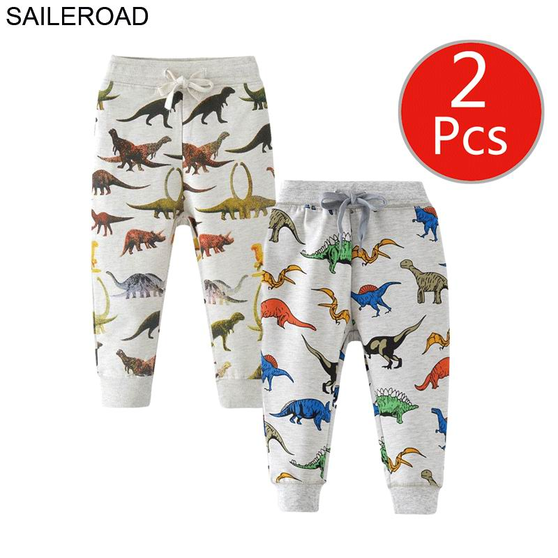 SAILEROAD 2pcs Dinosaur Pants Kids Boys Pants for Boys Animal Print Children's Pants for Baby Clothes 7Years Kids Sweatpants 1