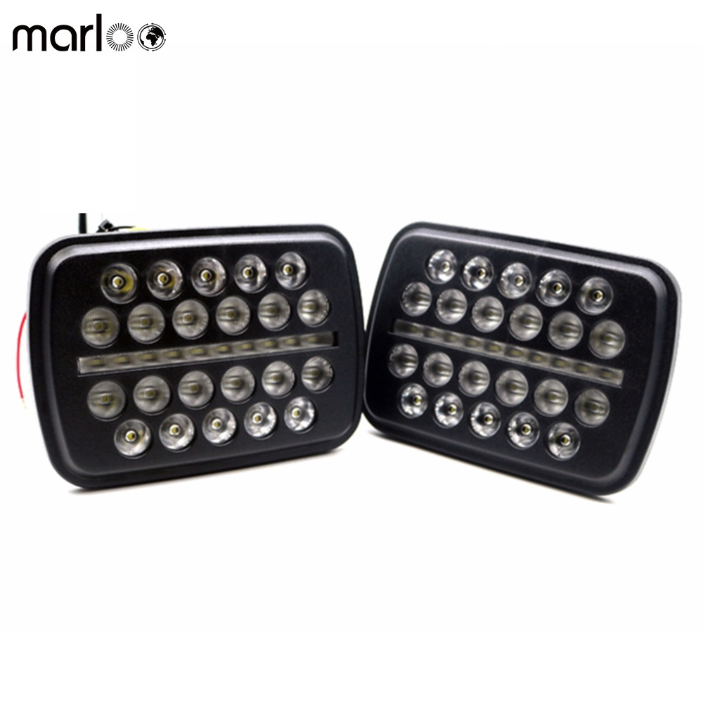 Marloo Pair 5x 7 6x7 inch High Low Beam Led Headlights for Jeep Wrangler YJ Cherokee XJ H6054 H5054 H6054LL 69822 6052 6053