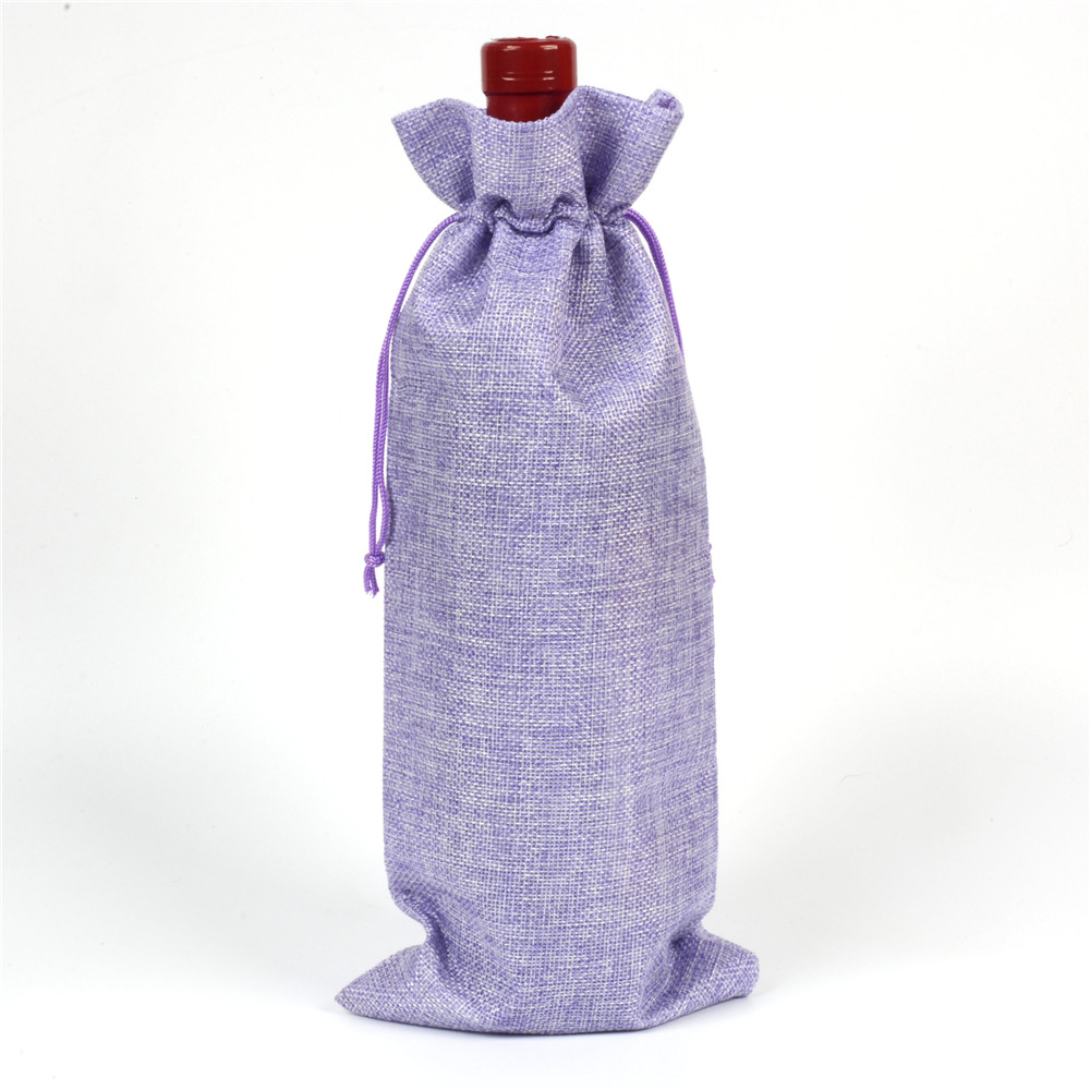 Vánoční jutové víno láhve kryty dárkové tašky šampaňské víno slepé balení pouzdro Rustikální Hessian svatební stůl vymalovat  t