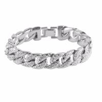 Silver Plated Curb Cuban Link   Bracelet   For Men Hip Hop Rhinestones CZ Rapper   Bracelets   &   Bangle   Punk Jewelry Shellhard