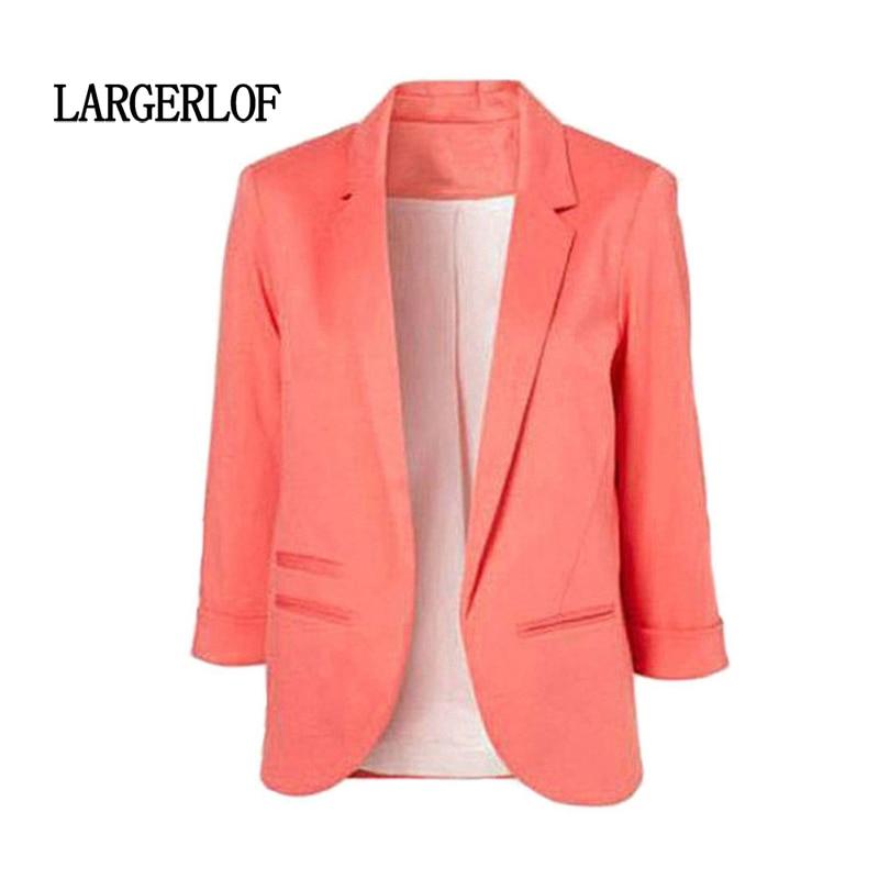 LARGERLOF Plus Size Blazer Women Three Quarter Ladies Blazer Slim Fit Simple Women Blazers And Jackets BR55002