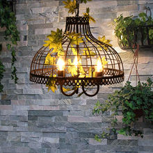 Iron cage lamp creative Cafe Hot pot shop modern clothing store Iron pendant light