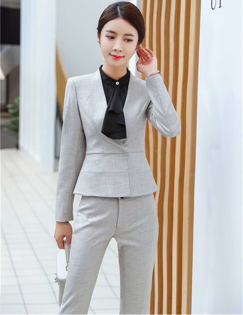 High Quality Fabric 2019 Spring Fall Formal Uniforms Designs Business Suits With Pants And Jackets Sets Pantsuits Pants Suits