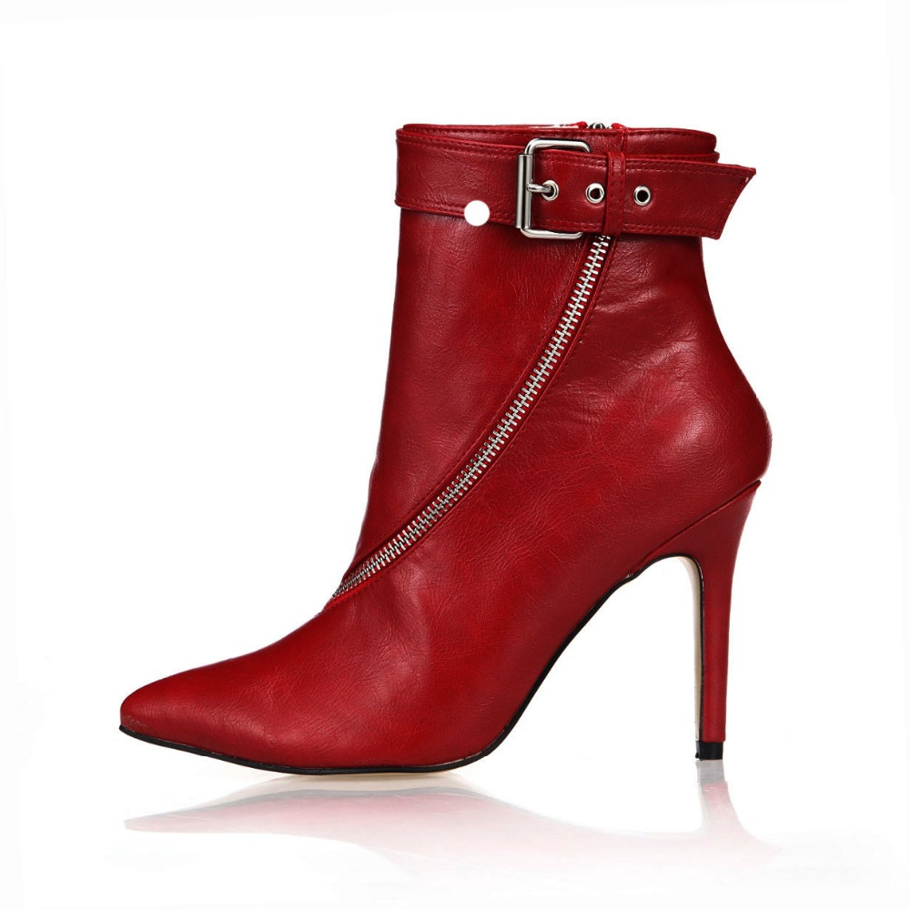 2018 New Arrival Women's Fashion Winter High Heels PU Leather Ankle Boots Woman Sexy Pointed Toe Side Zipper Buckle Dress Shoes woman platform square high heel buckle ankle boots fashion round toe side zipper dress winter boots black brown gray white