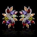 Multicolor AAA Cubic Zirconia clip on earrings for women,without piercing design no hole ear clip,high quality fashion jewelry