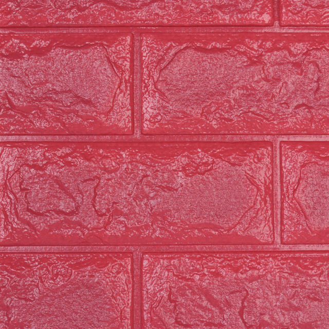 PE Foam 3D Red DIY Stone Brick Wall Stickers Home Decor 70*31cm ...
