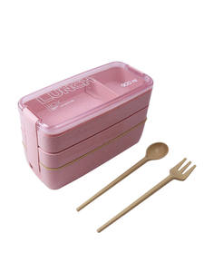 Bento-Box Lunchbox Dinnerware Food-Container Wheat-Straw-Material Microwavable 3-Layers
