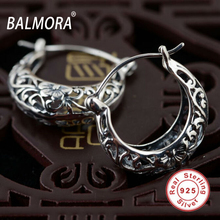 BALMORA 100% Real Pure 925 Sterling Silver Female Fashion Jewelry Hollow Flower Retro Earrings for Women Lover Gifts SY30174