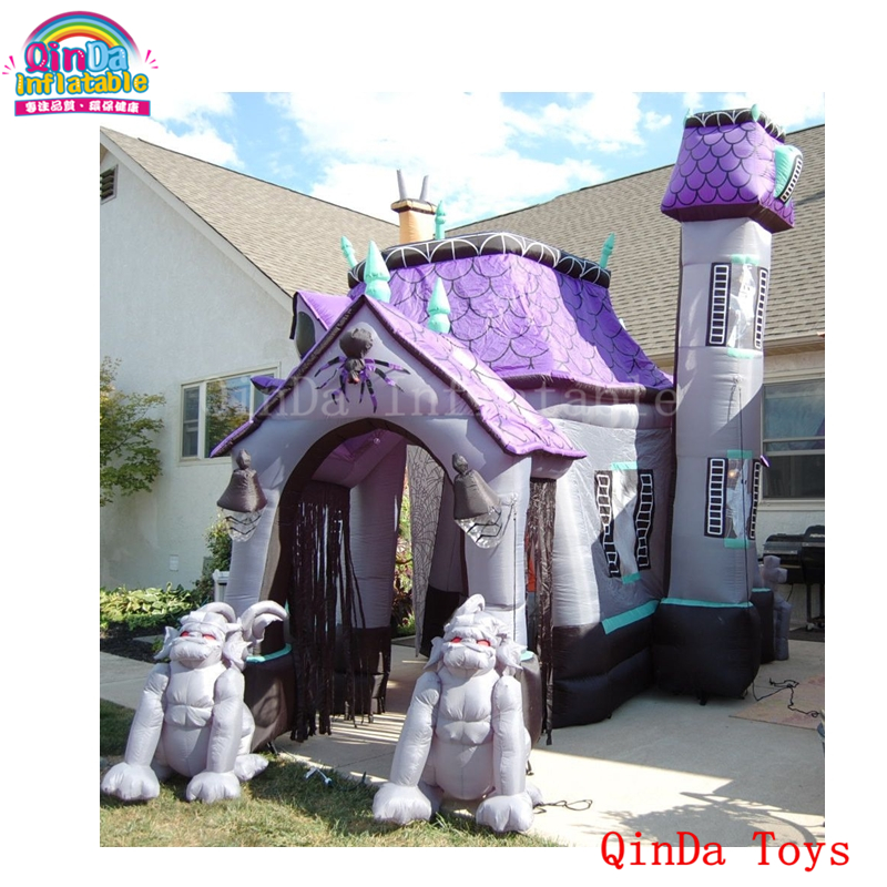 China low price dead tree yard decoration inflatable haunted house,inflatable Halloween bounce house for sale interesting haunted house props for children playing inflatable games