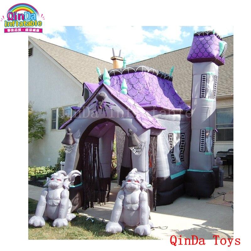 Maison hantée gonflable de décoration de cour d'arbre mort de prix bas de la chine, maison gonflable de rebond de Halloween à vendre