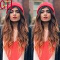 Мода волнистые ломбер человеческих волос парики бразильский два тона 1b / # 30 glueless парики / фронта волны парики для женщин