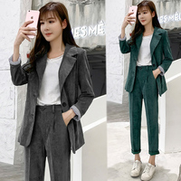 Solid color corduroy suit suit women's wild fashion single breasted small suit high waist small feet pencil pants Slim two piece