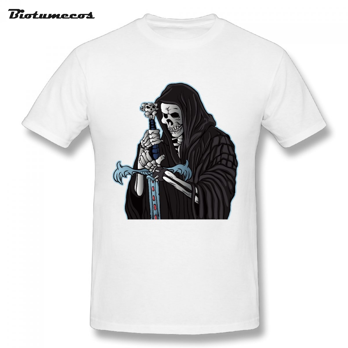 Plus Size Men T-shirt 2017 Skull Wear Robe Take Sword Printed Short Sleeve O-neck 100% Cotton Tees Shirt Top Clothing MTK111