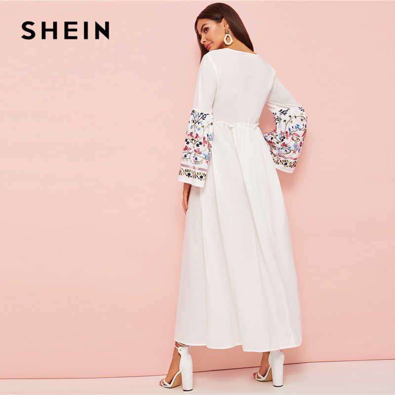 Шеин абайя Цветочная вышивка с оборкой отделка колокол рукав платье для женщин Весна Осень Макси белое платье свободные трапециевидные элегантные платья