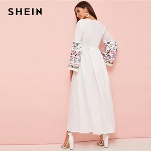 Image 5 - SHEIN Abaya Flower Embroidered Frilled Trim Bell Sleeve Dress Women Spring Autumn Maxi White Dress Loose A Line Elegant Dresses
