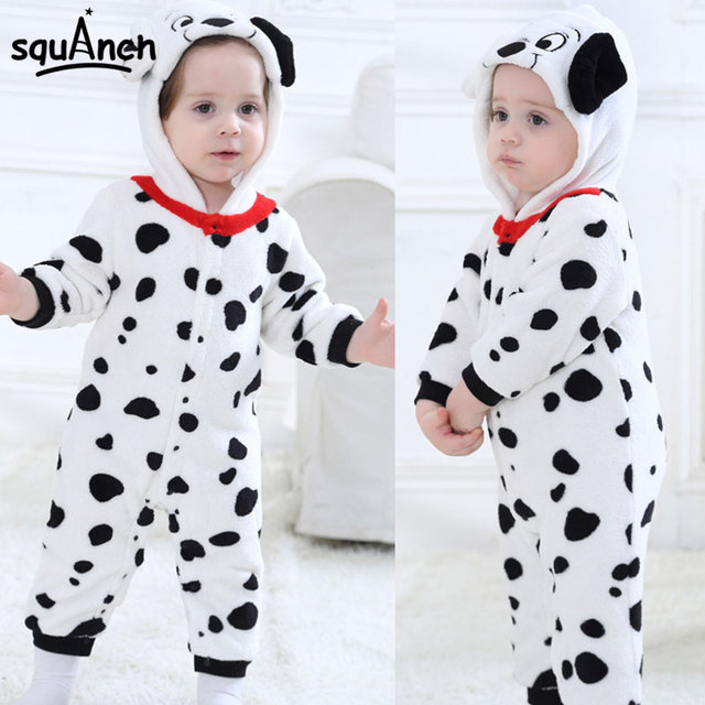 Baby Boys Girls Onesie Dalmatians Spotty Dog Cosplay Costume Flannel Warm Black White Cute Animal Kigurumi Kids Jumpsuit Pajama