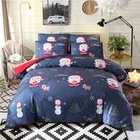 Bonenjoy Christmas Duvet Cover Set with Pillowcase Santa Claus Printed Bed Linen Single Set Bed Covers Christmas Bedding Queen
