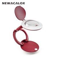 NEWACALOX Magnifier With Illumination Foldable Handheld Desktop LED Desk Lamp Lighting Loupe Multi Welding Magnifying Glass