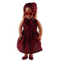 Yemeni + Etek + Gözlük + Ayakkabı Bebek Giysileri Giymek Fit 18 inç Amerikalı Kız Bebek Giysileri, Çocuk en doğum günü Hediye AGH18-2