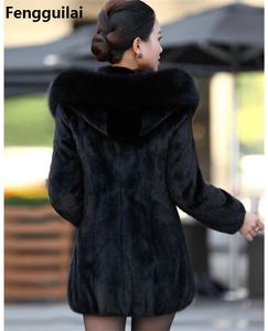 Image 3 - S   4XL Women Winter Hooded Fake Fur Coats Plus Size Vintage Artificial Black  Big Size Faux Fox Fur Coat With Hood