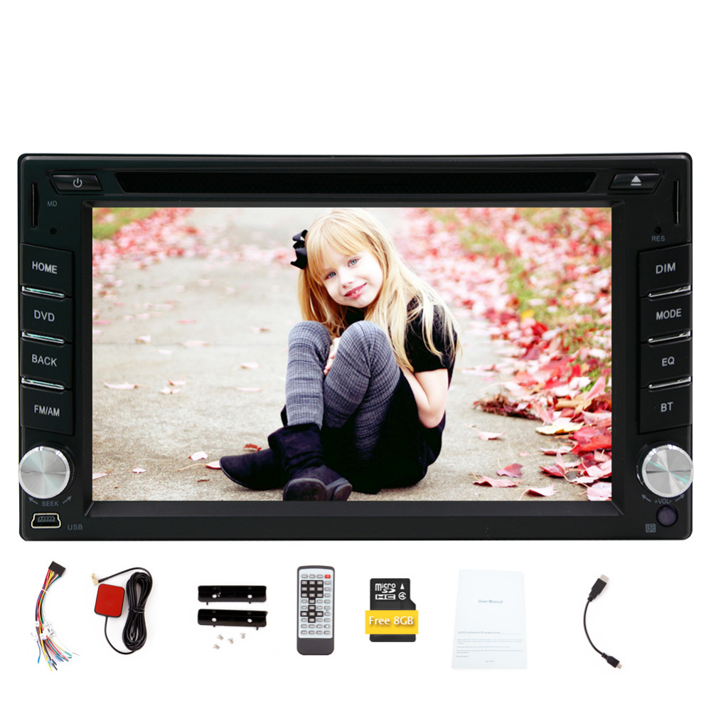 New Universal 2din gps car dvd player Bluetooth Aux in dash car radio 8 GB GPS Navigation Wince audio stereo FM AM RDS Car radio original new den so dvd navigation mechanism rae3370 for toyo ta b9004 b9001 vw mercedes lexuss audi 2g car audio gps