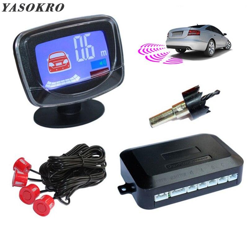 Vehicle Reverse Parking Radar LCD Display With 4 Sensors Backup Car Parking Radar Monitor Detector System Buzzer+ Speech