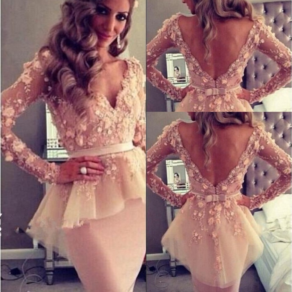 Sexy Lace See Through Short Homecoming Dresses V-Neck Long Sleeve Appliques Prom Gown For Wedding Party