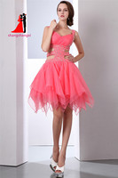 Sexy Backless Homecoming Dresses 2017 Light Coral Puffy Organza Skirt Graduation Dresses Short Prom Dresses