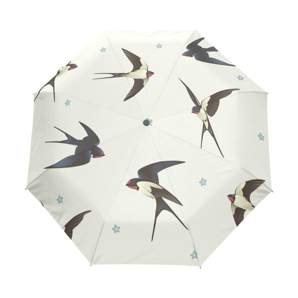 Fully Auto Open Umbrella Rain Women Swallow Bird Paraguas Men 3 Folding Unisex Rain Gear Umbrellas for Children Gift