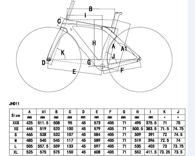 size chart 1hole