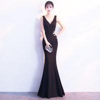 Elegant Black Cheongsam Sexy V neck Backless Chinese Dress Novelty Rhinestone Fishtail Robe De Soiree Size S,M,L,XL,XXL