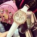 Luxury brand смотреть женщины кожаный ремень Горный Хрусталь кристалл женские кварцевые часы montre femme Аналоговые женщины наручные часы