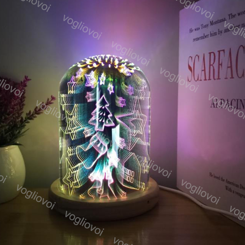 Vogliovoi Luci notturne 3D STAR scoppio luce Di notte Fuochi D'artificio Star cuore Ha CONDOTTO LA LAMPADA Da Tavolo Di colore Che Cambia Lampada Del regalo Decorativo Per La Casa