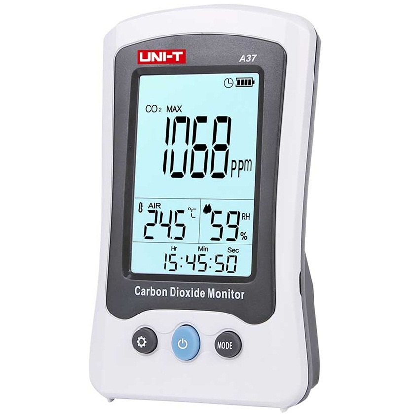 UNI T A37 CO2 Detection Digital Carbon Dioxide Detector Laser Air Quality Monitoring Tester 400PPM 5000PPM