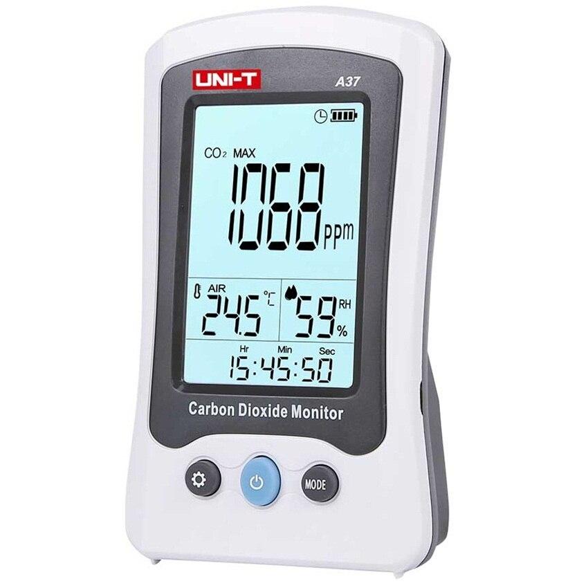 UNI-T A37 CO2 détection numérique détecteur de dioxyde de carbone Laser testeur de surveillance de la qualité de l'air 400PPM ~ 5000PPM pour maison/chambre