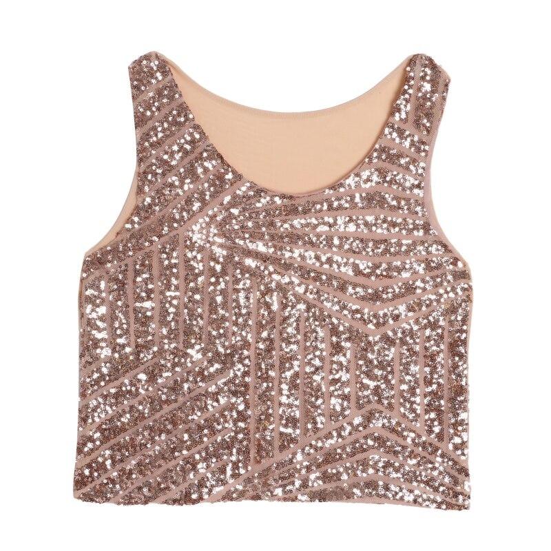 Women Sleeveless T Shirt Sparking Bling Sequined Tank Top O Neck Crop Tops  Women Tank-in Tank Tops from Women s Clothing   Accessories on  Aliexpress.com ... 368283e3b5d3