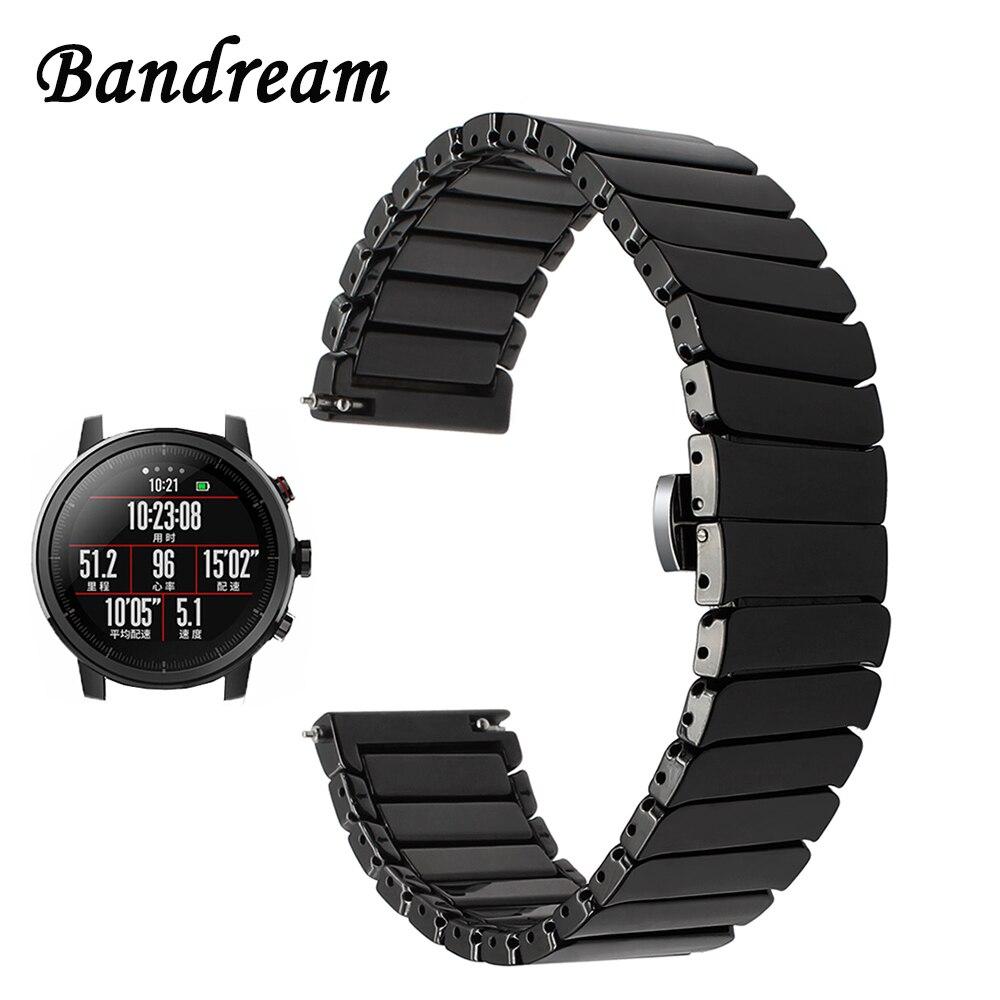 20mm 22mm Keramik Armband Für Amazfit 1/2/2 S Xiaomi Huami Bip Tempo Schnellverschluss Uhr Band Stahl Schmetterling Schnalle Strap