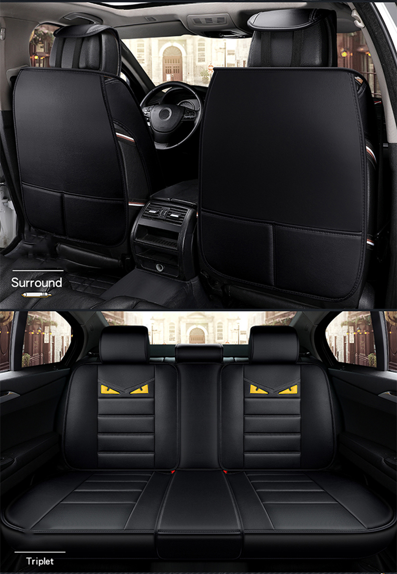 JUSAN Car Leather Cartoon Seat Cover Four Seasons Universal Car Seat ...