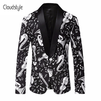 Cloudstyle 2018 мужской пиджак Черный и Белый Мода Музыка 3D печать костюм Homme комиксов Роскошный жакет Для мужчин пиджак