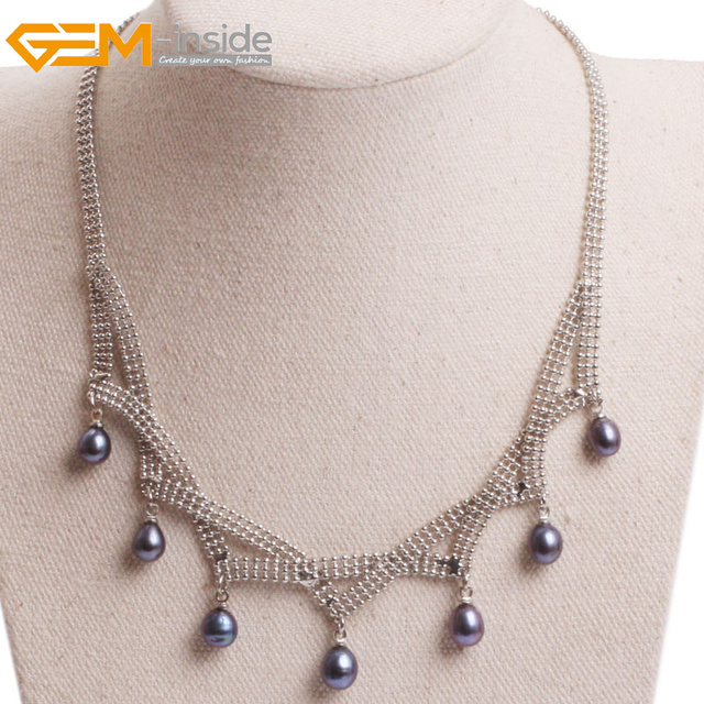Femmes Pendentif Colliers Elegant Naturel D Eau Douce Perle Noire