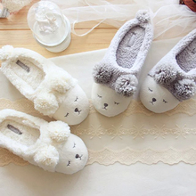 grey adorable sheep  home slippers autumn and winter women warm slippers floor indoor waterproof shoes