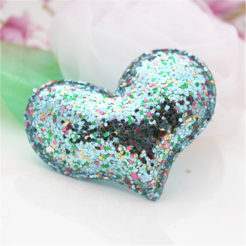 50PCS Bright Blue Bling AB Colors Glitter Powder Heart Crafts for Christmas Tree Decoration Lovely Girl Hair Jewelry Material