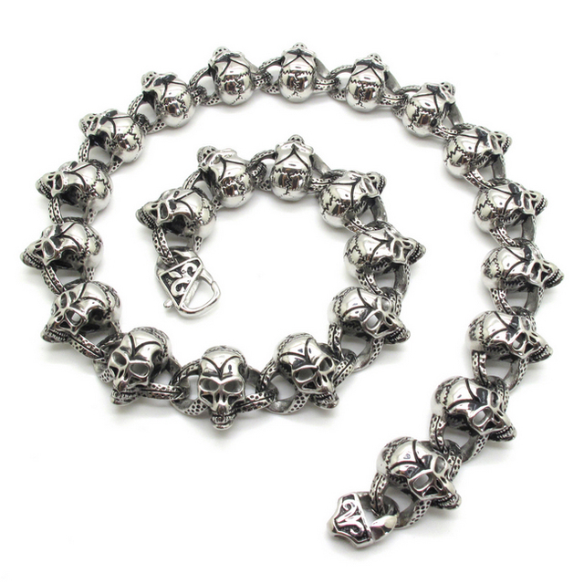 Biker Style New Arrival Huge & Heavy 316L Stainless Steel Ghost Skulls Fleur De Lis Necklace Free shipping