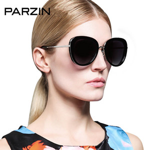 Parzin Women Polarized Sunglasses Summer TR 90 Vintage Sun Glasses Female Retro Women Glasses Ladies Shades Black With Case
