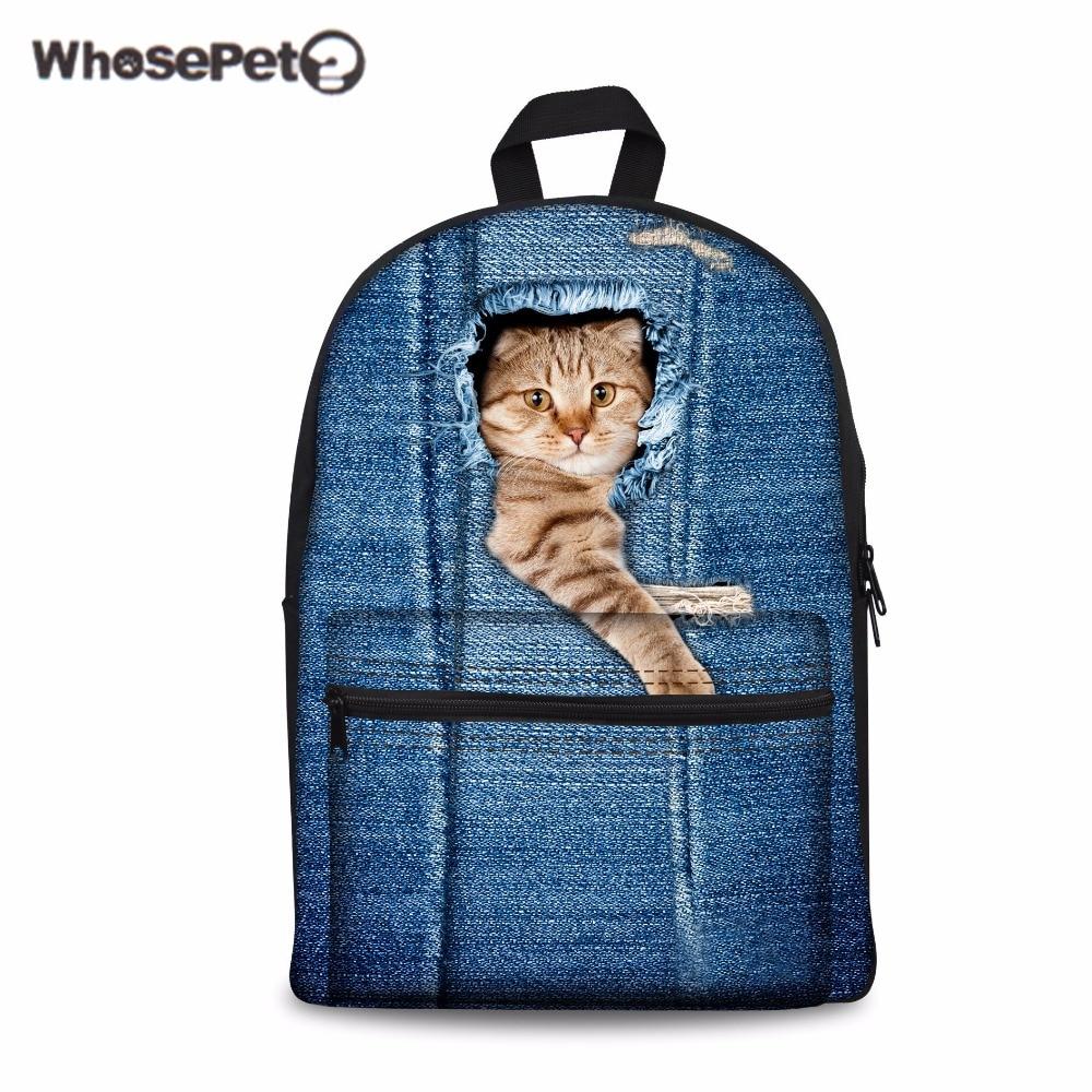 WHOSEPET Nette Katze Schultaschen Mode Rucksäcke für Mädchen Jungen Blau Gedruckt Studenten Daypack Schultasche Kawaii Buch Taschen Mochila
