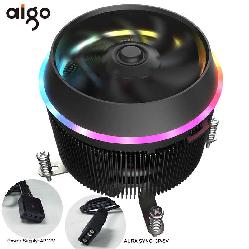 Aigo Shadow Pro PWM CPU Cooler 5V TDP 280W 4pin LED RGB Fan Radiator Cooler Motherboard Sync Control Cooling for intel AM3/AM4